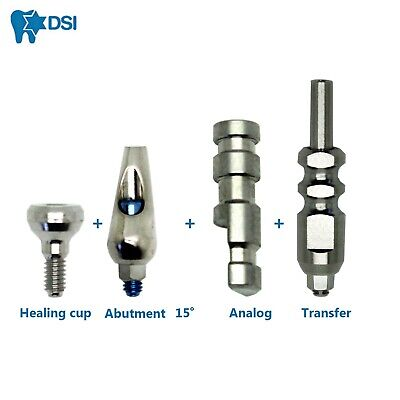 Dental Implants Kit Abutment Angulated 15° + Transfer + Analog + Healing Cup