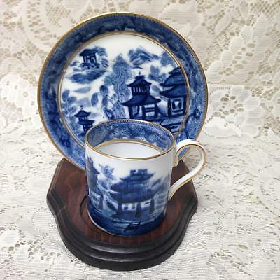 Antique,Crown Staffordshire England, Variant Flow Blue Willow, Demi-Cup n Saucer