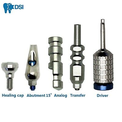 Dental Implant Kit Abutment Angulated 15° Transfer Analog Healing Cap Driver