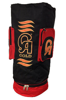 CA Gold Cricket Kit Duffle Sack Players Drawstring Coffin Holdall Bag Black/Red