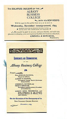 Vintage Advertising Brochure ALBANY BUSINESS COLLEGE 1893 school expansion NY