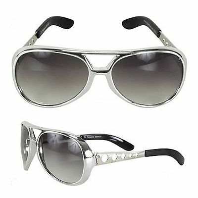 Rock N' Roll Glasses Silver Elvis Inspired Halloween Accessories