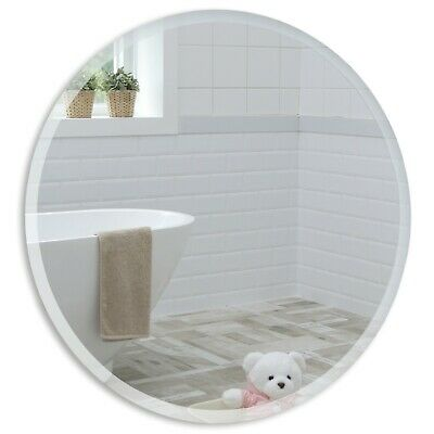 BATHROOM WALL MIRROR Simple Design ROUND WITH BEVEL Frameless Plain