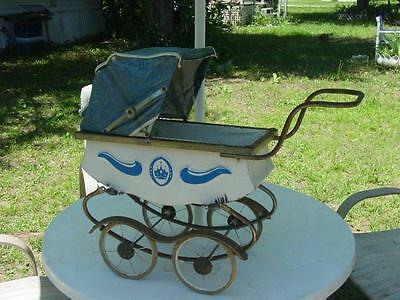 Vintage Coronet Royal Metal Baby Carriage Large Doll Size: Restorable Attic find