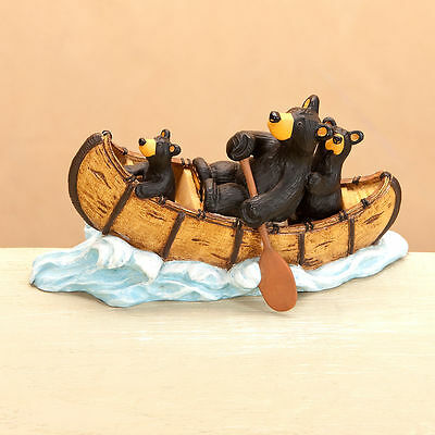 New Big Sky Carvers Jeff Fleming Bearfoots Bear Figurine -  Creek Rapids Canoe