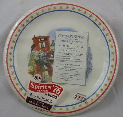 Vtg Dixie Printing Press Common Sence Spirit of 76 Unopened Pack 8 Plates NOS