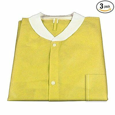 30 pack Dynarex 2046 Lab Jacket SMS with Pockets, Yellow, XX-Large, New