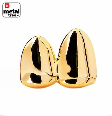 Double Cap 14k Gold Plated Grillz Canine Plain Two Teeth Single Tooth / Double G