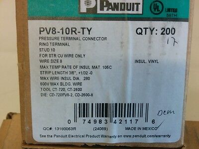 Panduit Size 8  Crimp RIng Terminal Box of 200 with Free Shipping! UL Approved