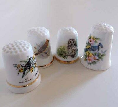 Four Bird/wildlife Scene Thimbles - Collectors Set
