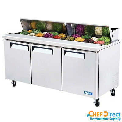 "Turbo Air MST-72-N 72"" 3 Door Standard Top Sandwich Prep Table"