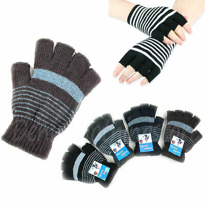 12 Pairs MEN'S WOMEN WARM MAGIC STRIPED FINGER LESS WINTER WARM KNITTED GLOVES