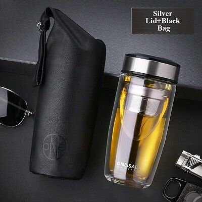 ONEISALL Double Wall Glass Water Bottle with Stainless Steel Tea Infuser 380ml