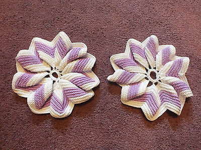 Collectible Handmade Pot Holder Set 2 Lavender White 6 1/2 Inch Ruffled NICE