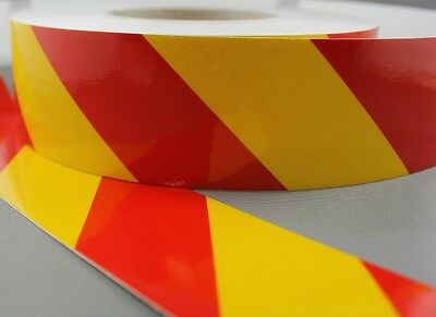3M Yellow/Red Class 2 (3200 Series) Reflective Tape 50mm x 45.7m LEFT