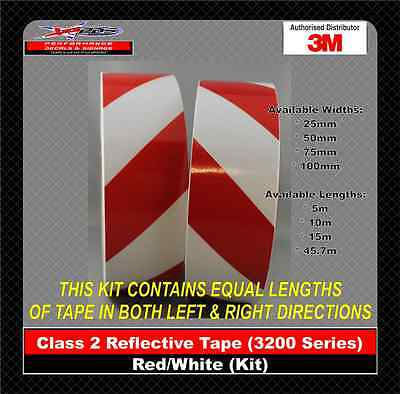 3M Red/White Class 2 (3200 Series) Reflective Tape 50mm x  10m KIT