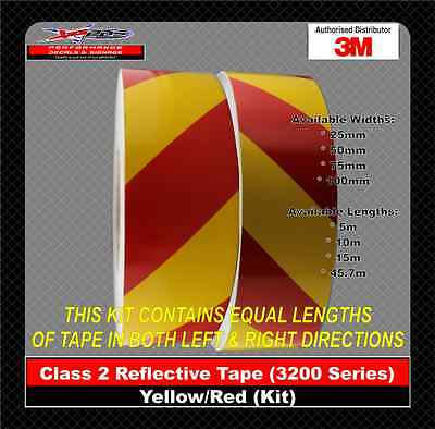 3M Yellow/Red Class 2 (3200 Series) Reflective Tape 50mm x 45.7m KIT