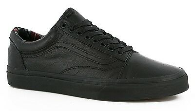 Vans Shoes Old Skool Black Leather / Plaid Us Size School Vn003Z6I1I New Sale