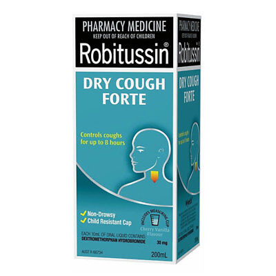 Robitussin Dry Cough Forte 200Ml Throat Soothing Formula Cherry Vanilla Flavour