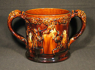 1840's Lge Rockingham Treacle Glazed Loving Cup Fighting Dogs 2 Frogs Sprigging.