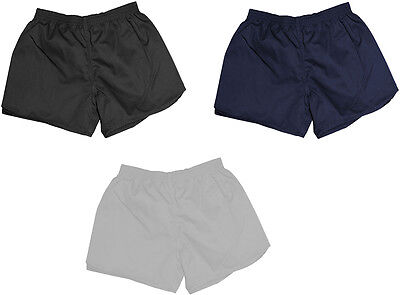 Poly Cotton Football Shorts Sports Playing Loose Fit Short Black & Navy