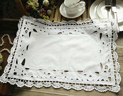 Elegant Rose Embroidery Hand Crochet Cutwork Cotton White Table Topper Placemat