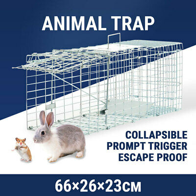 Medium Humane Animal Cage Trap Catch Possum Rabbit Cat Rat Hare Bait Safe Live