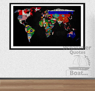 WORLD MAP / Planet Earth Awesome Creative Poster Print Wall Art Print  + Frame