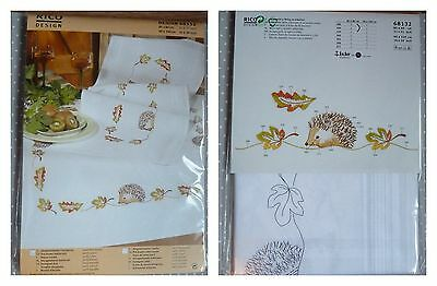 RICO Pre-drawn TABLECLOTH EMBROIDERY KIT 100% cotton 80 x 80 cm HEDGEHOGS !