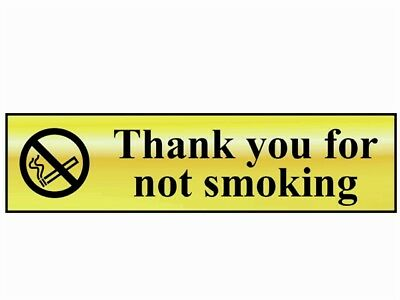 Scan SCA6001 Thank You For Not Smoking - Polished Brass Effect 200 x 50mm