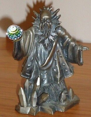 """THE WIZARD OF WINTER pewter figurine w/Crystal Ball 3.5"""" Great Britain"""