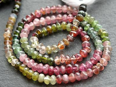 "HAND SHAPED MULTI TOURMALINE RONDELLES, approx 3.5mm, 13"", 120 beads"