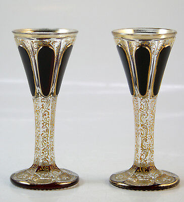Moser Dark Red Cabouchon Pair of Liqueur Goblets