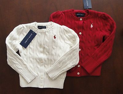 NWT Ralph Lauren Girls Cotton Cable Knit Cardigan Sweater Sz 5 6 6x NEW $50