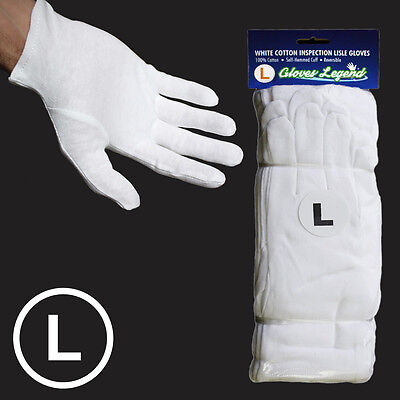 Size Large - 24 Pairs White Coin Jewelry Silver Inspection Cotton Lisle Gloves