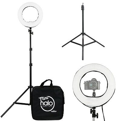 """Prismatic 14"""" Fluorescent Mini Halo Diva Ring Light with Light Stand"""