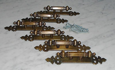 6 Vintage Carriage House Brass Cabinet Drawer Pull Handles w Back Plates- Canada
