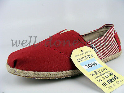 21c8f51e355 ... of 3 TOMS university red white canvas mens classics loafers shoes  espadrille slip-ons 2