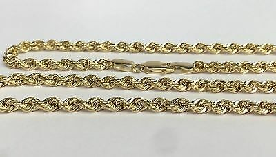 14k Solid Yellow Gold Hallow Rope Chain Necklace 18 inches, 5.25Grams