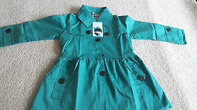 New  Kids Baby Girls Green Cotton Long Sleeves Hoodie Trench Coat Outwear 2-6Y