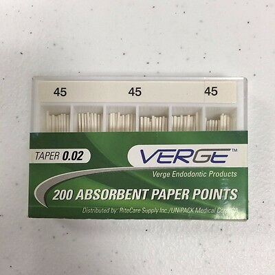 Absorbent Paper Points (Qty 200) Taper 0.02, # 45 - Verge Endo Dental Kit