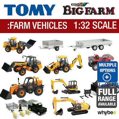 Tomy 1:32 Britains Farm Toys Vehicles Full Range Available Excavator Trailer New