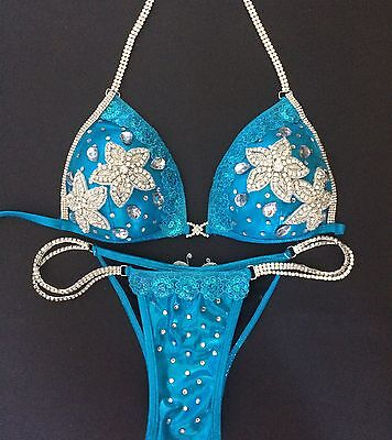 NEW Turquoise Blue Bling Fitness Competition Bikini Bodybuilding Model Comp WBFF
