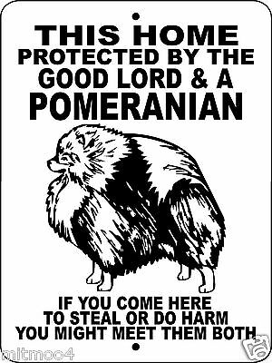 "POMERANIAN DOG SIGN,9""x12"" ALUMINUM.Guard Dog Sign,Gate Sign,Fence,Guard,GLPOM"