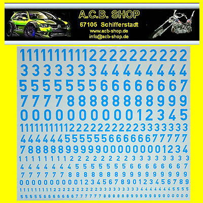 Zahlen hellblau Numbers light-blue 1:87 + 1:43 + 1:32 Decal Abziehbilder