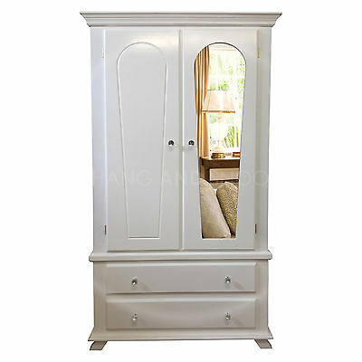 Handmade Crown 2 Drawer Wardrobe Mirrored White (Assembled