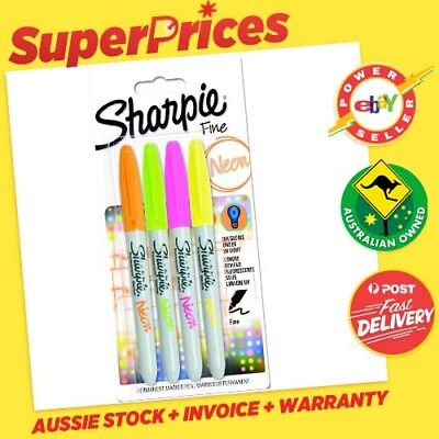 SHARPIE ◉ FLURO NEON Markers x 4 ◉Permanent Sharpies◉Marker Pen Texta◉Fine Point