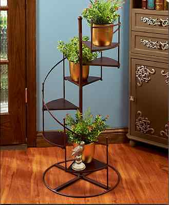 Spiral Staircase Metal Plant Stand Over 3 Ft Tall Garden Porch Patio Home Décor