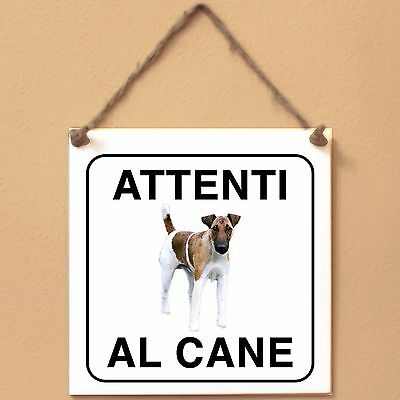 Fox Terrier a pelo raso 3 Attenti al cane Targa cane cartello ceramic tiles