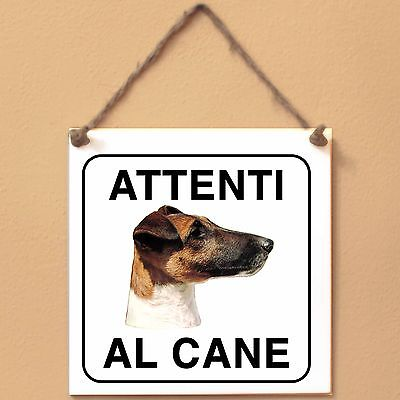 Fox Terrier a pelo raso 2 Attenti al cane Targa cane cartello ceramic tiles
